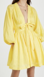 Women's Bow Tie V-neck Dress With Puff Sleeves Nihaostyles Clothing Wholesale NSXPF77071