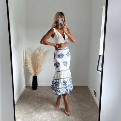 Women's Blue And White Porcelain Printed Skirt Nihaostyles Clothing Wholesale NSXPF77079
