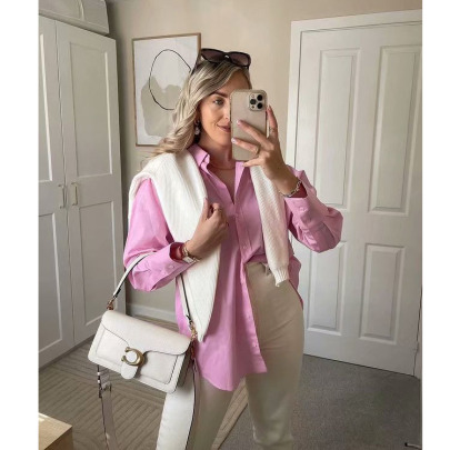 Cotton And Linen Long-sleeved Single-breasted Mid-length Shirt Two-color Nihaostyles Clothing Wholesale NSXPF77082