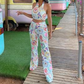 Women's Printed Cropped Vest Top High Waist Trousers Suit Nihaostyles Clothing Wholesale NSXPF77085