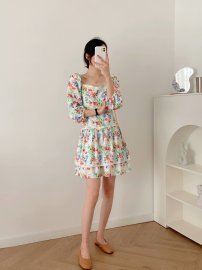 Women's Floral Puff Sleeves Fold Lace Dress Nihaostyles Clothing Wholesale NSXPF77120