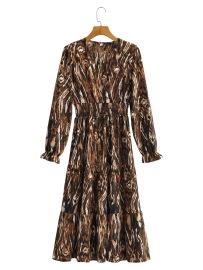 Women's Zebra Print V-neck Long-sleeved Dress Nihaostyles Clothing Wholesale NSXPF77121