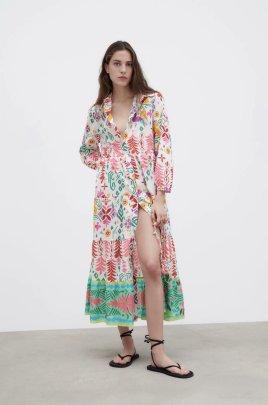 Women's Lapel Long-sleeved Loose Printing Shirt Dress Nihaostyles Clothing Wholesale NSXPF77123