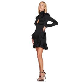 Women's Irregular Ruffled Satin Puff Sleeve Dress Nihaostyles Clothing Wholesale NSDMS77128
