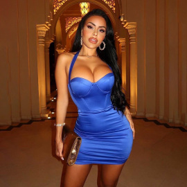 Women's Tight-fitting Halter Dress Nihaostyles Clothing Wholesale NSDMS77130