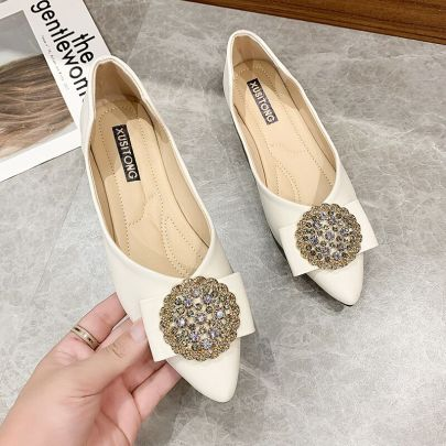 Pointed Leather Flat-bottomed Shoes Nihaostyles Clothing Wholesale NSYSY77484