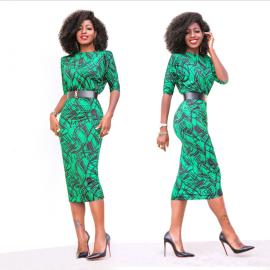 Women's Print Round Neck Receiving Waist Package Hip Dress Nihaostyles Wholesale Clothing NSYIS80731