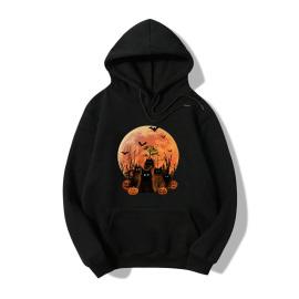 Halloween Bat Cat Print Fleece Hooded Sweatshirt Nihaostyles Wholesale Halloween Costumes NSYAY80729