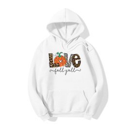 Halloween Love Pumpkin Print Casual Fleece Hooded Sweatershirt Nihaostyles Wholesale Halloween Costumes NSYAY80727
