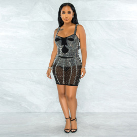 Off-the-shoulder Rhinestone Slim Dress Nihaostyles Clothing Wholesale NSCYF80335