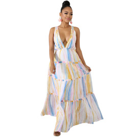 Printed Large-scale V-neck Halter Dress Nihaostyles Clothing Wholesale NSCYF80340
