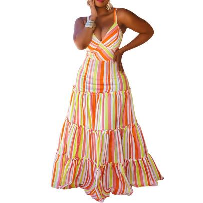 V-neck Halter Strap Striped Print Slim Dress Nihaostyles Clothing Wholesale NSCYF80343