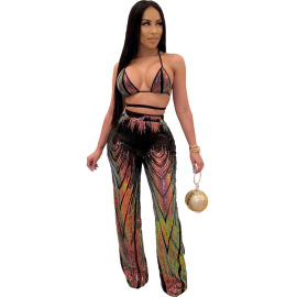 Sequins Wrapped Chest Top And Trousers Set Nihaostyles Clothing Wholesale NSCYF80345