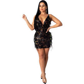 Sequined Pearl Lining Suspender Dress Nihaostyles Clothing Wholesale NSCYF80346