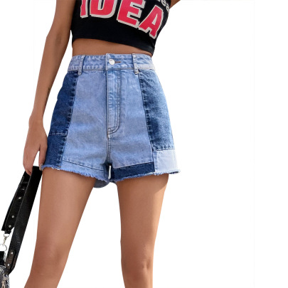 Loose Straight Stitching Denim Shorts Nihaostyles Clothing Wholesale NSJM80354
