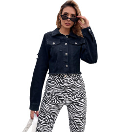Lapel Denim Jacket Coat Nihaostyles Clothing Wholesale NSJM80357