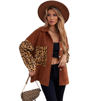 Leopard Printing Stitching Corduroy Long-sleeved Jacket Coat Nihaostyles Clothing Wholesale NSJM80355