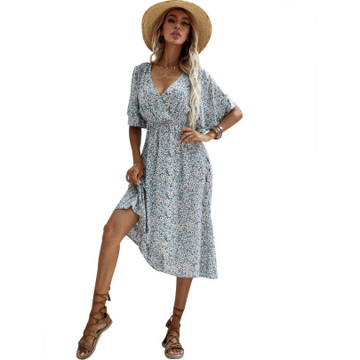 Floral Print V-neck Half Sleeve Dress Nihaostyles Clothing Wholesale NSJM80365