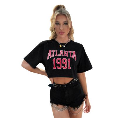 Loose Round Neck Short Sleeve Cropped T-shirt Nihaostyles Clothing Wholesale NSJM80370