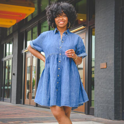 Short-sleeved Slim Denim Dress Nihaostyles Clothing Wholesale NSTH80373