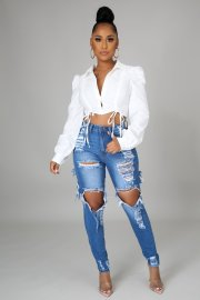Ripped Frayed Stretch Jeans Nihaostyles Clothing Wholesale NSTH80374
