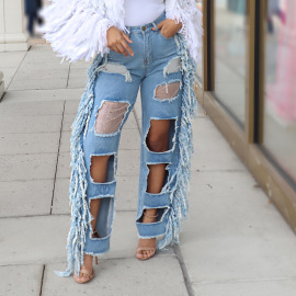 Ripped Tassel Wide Leg Jeans With Diamond Fragments Nihaostyles Clothing Wholesale NSTH80375