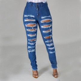Frayed Hole Stretch Jeans Nihaostyles Clothing Wholesale NSTH80380