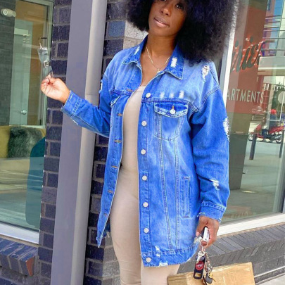Mid-length Ripped Denim Jacket Nihaostyles Clothing Wholesale NSTH80381
