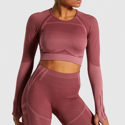 Long Sleeves T-shirt High Waist Stretch Leggings Yoga Set Nihaostyles Clothing Wholesale NSXER80388