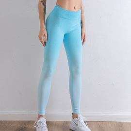 Gradient Color High Waist Tight-fitting Yoga Leggings Nihaostyles Clothing Wholesale NSXER80389