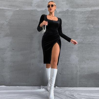 Slim Square Neck Long Sleeve Velvet Slit Dress Nihaostyles Clothing Wholesale NSYSQ80394