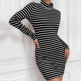 Hollow Back High-neck Long-sleeved Knitted Striped Cotton Dress Nihaostyles Clothing Wholesale NSYSQ80395