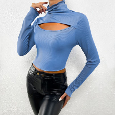 Hollowed Out Pile High Collar Long-sleeved Knitted T-shirt Nihaostyles Clothing Wholesale NSYSQ80396
