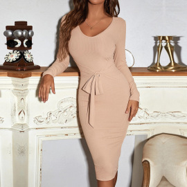 V-neck Lace-up Belt Long-sleeved Knitted Dress Nihaostyles Clothing Wholesale NSYSQ80398