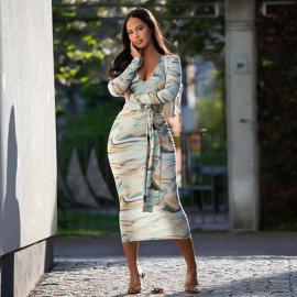 V-neck Long-sleeved Printed Belt Slim-fit Dress Nihaostyles Clothing Wholesale NSJYF80400