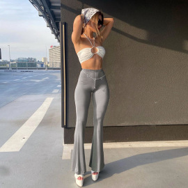 Solid Color Slim High Waist Bell-bottoms Nihaostyles Clothing Wholesale NSSWF80412
