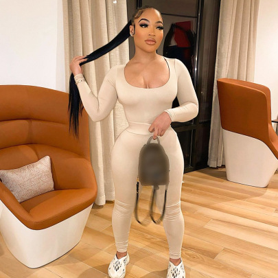 Solid Color Low-cut Long-sleeved One-piece Jumpsuit High-waist Tight Trousers Set Nihaostyles Clothing Wholesale NSMX80423