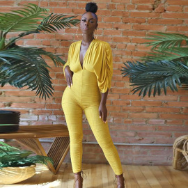 Solid Color V-neck Tether Straps Pleated Long-sleeved Tight Jumpsuit Nihaostyles Clothing Wholesale NSMX80428