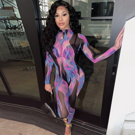 Printed Round Neck Long-sleeved Hollow Tight Net Gauze Jumpsuit Nihaostyles Clothing Wholesale NSMX80430