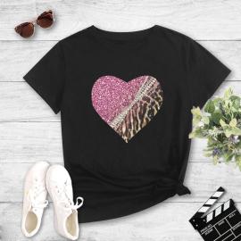 Color Matching Leopard Love Print Short-sleeved T-shirt Nihaostyles Wholesale Clothing NSYAY80722
