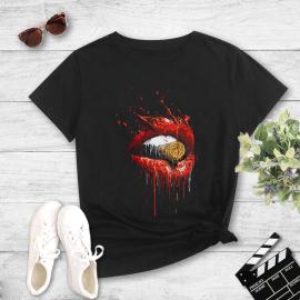 Bullet Big Lips Print Casual Short-sleeved T-shirt Nihaostyles Wholesale Clothing NSYAY80698
