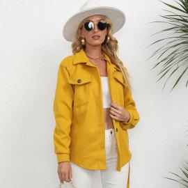 Winter Women's Solid Color Midi Woolen Coat Nihaostyles Wholesale Clothing NSJC80728