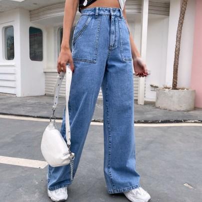 Summer Women's Big Pocket High Waist Straight Jeans Nihaostyles Wholesale Clothing NSJM80433