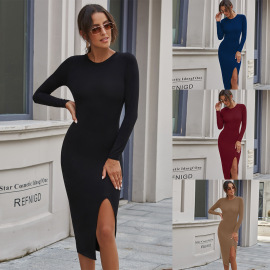 Autumn And Wimter Women's Round Neck Slim Dress Nihaostyles Wholesale Clothing NSJM80435