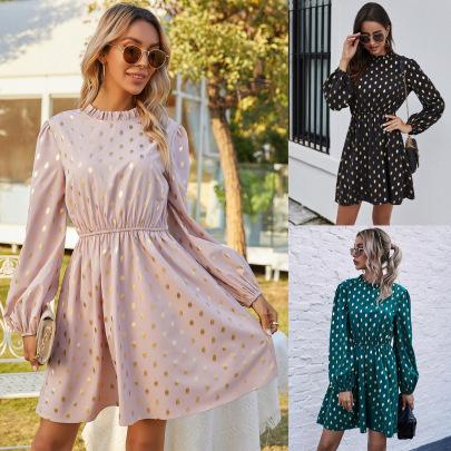 Women's Half High Neck Polka Dot Dress Nihaostyles Wholesale Clothing NSJM80436