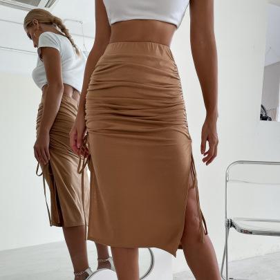 Women's Half-length Slitted Drawstring Package Hip Skirt Nihaostyles Wholesale Clothing NSJM80441