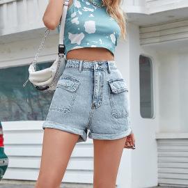 Women's High-waist Wide-leg A-line Denim Shorts Nihaostyles Wholesale Clothing NSJM80444