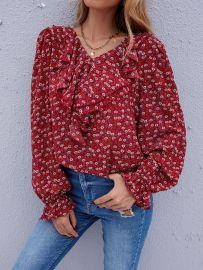 Women's Floral V-neck Chiffon Shirt Nihaostyles Wholesale Clothing NSJM80445