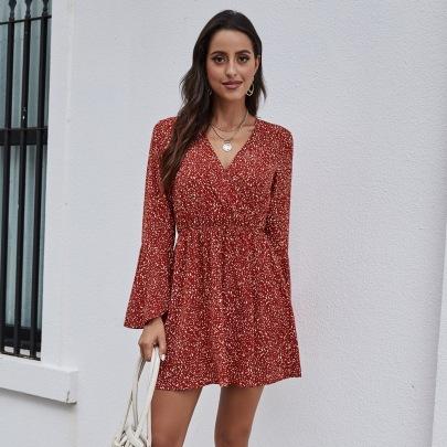 Women's V-neck Floral  Chiffon Short Dress Nihaostyles Wholesale Clothing NSJM80448