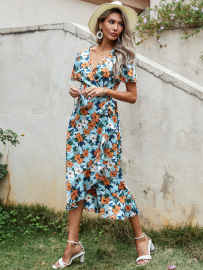 Women's Printed High-waist Slimming Floral Dress Nihaostyles Wholesale Clothing NSJM80449